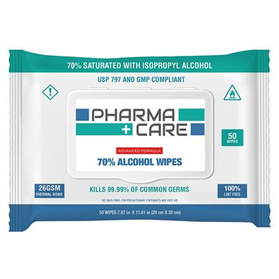 Pharmacare 70% Isopropyl Alcohol Wipes [PC-1040-01]